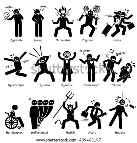 Negative Personalities Character Traits. Stick Figures Man Icons. Starting with the Alphabet H. - stock vector
