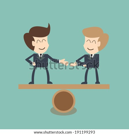 Negotiating  buisness equality  - concept - stock vector