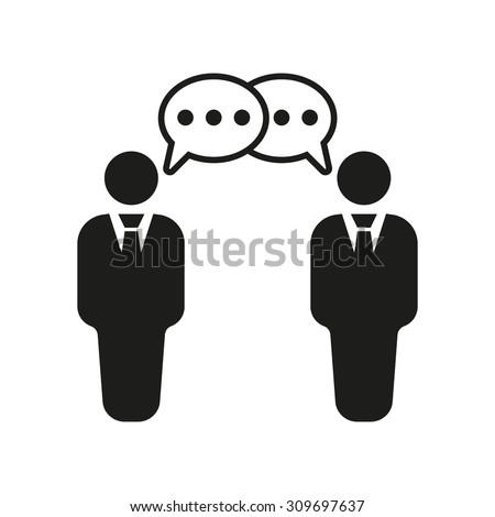 Negotiations icon. Debate and dialog, discussion, conversations symbol. Flat Vector illustration - stock vector