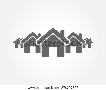 neighborhood house residence street district community town village vector icon - stock vector
