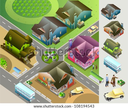 Neighborhood isometric map. very detail isometric vector - stock vector