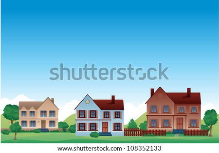 Neighborhood Suburban vector background - stock vector