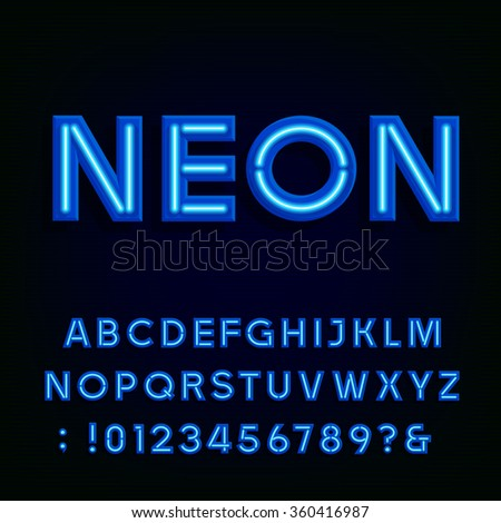Neon alphabet font. Blue light effect letters and numbers on the dark background. Vector typography for labels, titles, posters etc. - stock vector