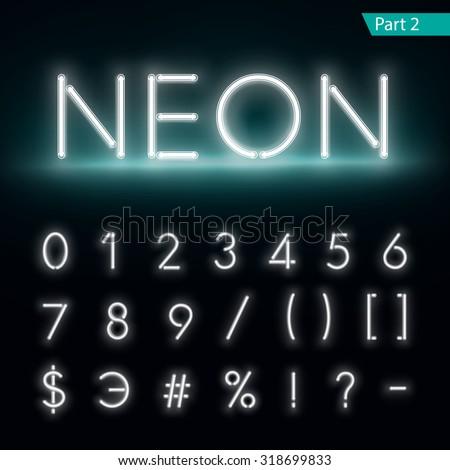 Neon alphabet. Glowing font. Vector format part 2 - stock vector