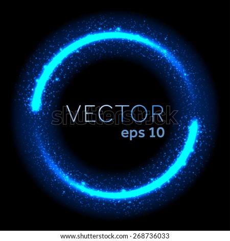 Neon blue glittering star dust lights circle - stock vector