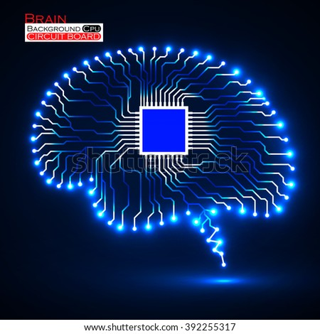 Neon brain. Cpu. Circuit board. Abstract technology background. Vector illustration. Eps 10 - stock vector