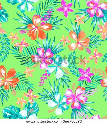 neon bright Hawaiian print ~ seamless background - stock vector