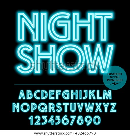 Neon bright set of alphabet letters, numbers and punctuation symbols. Vector light up blue logo with text Night show - stock vector