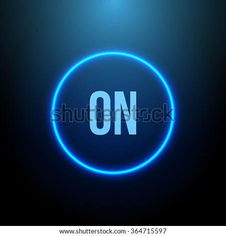 Neon Circle. Button with Blue Light. Vector illustration - stock vector