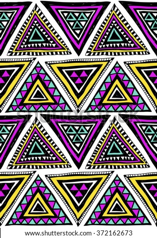 neon color tribal Navajo vector seamless pattern with doodle triangles. aztec abstract geometric art print. ethnic hipster backdrop.  Wallpaper, cloth design, fabric, paper, cover, textile template. - stock vector