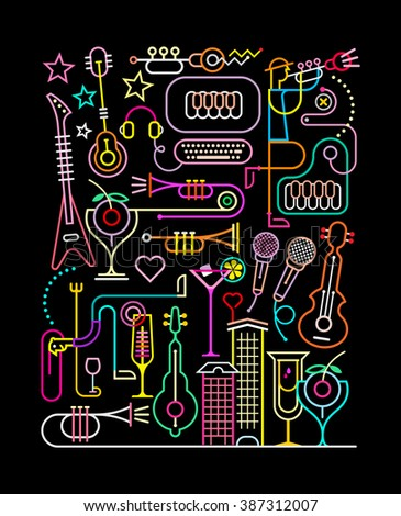 Neon colors on a black background. Karaoke Party vector illustration. Abstract art composition. - stock vector