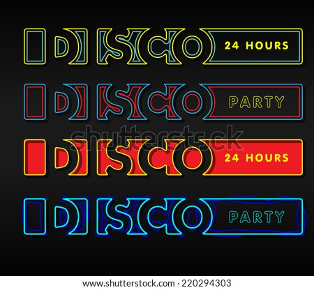 Neon Disco Sign in four different colors - stock vector