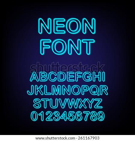 Neon font. Vector illustration. - stock vector