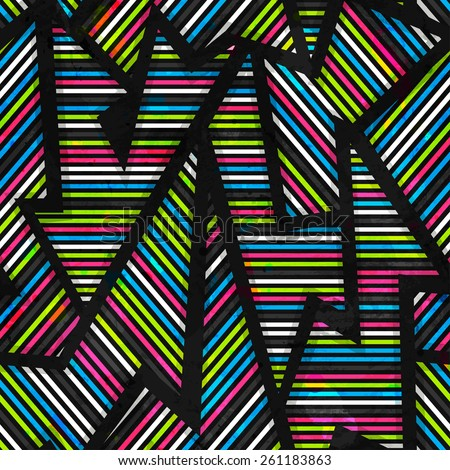 neon geometric seamless pattern - stock vector