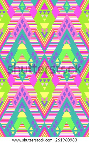 neon geometric shapes and stripes ~ seamless background - stock vector
