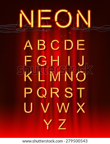 Neon glow alphabet. - stock vector
