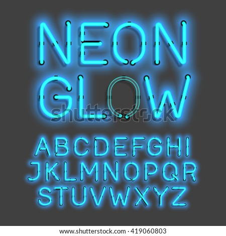 Neon Glow alphabet vector illustration - stock vector