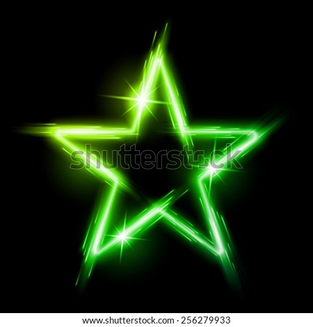 Neon glowing green star with reflection in space - stock vector