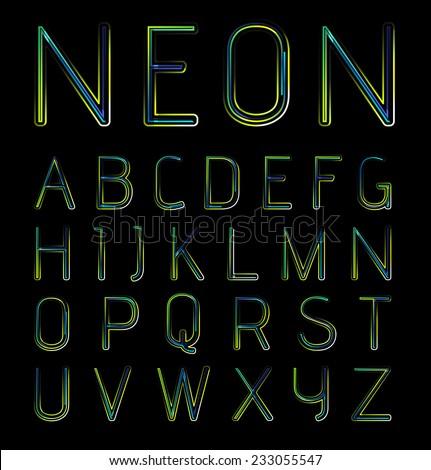 Neon holidays party alphabet, vector illustration.  - stock vector