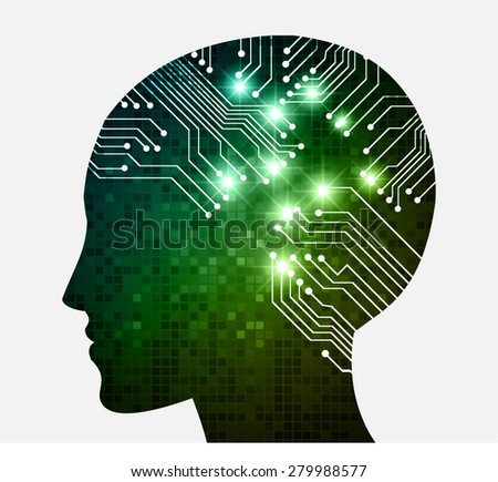 Neon human head. Cpu. blue green Circuit board. Vector illustration. pixel. Abstract Technology background for computer graphic website internet and business. infographics. - stock vector