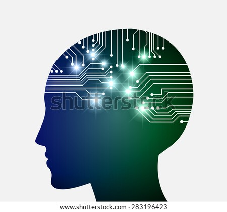 Neon human head. Cpu. blur green Circuit board. Vector illustration. Abstract Technology background for computer graphic website internet and business. infographics. - stock vector