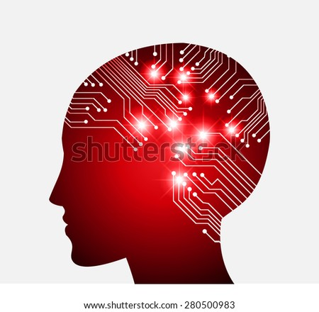 Neon human head. Cpu. dark red Circuit board. Vector illustration. Abstract Technology background for computer graphic website internet and business. infographics. - stock vector