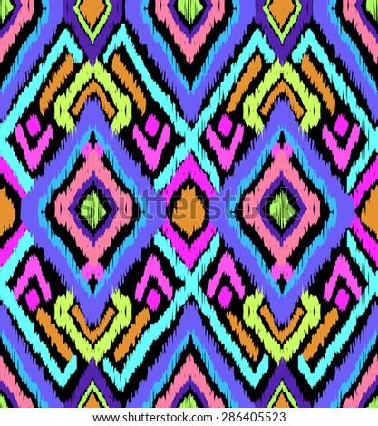 neon ikat art ~ seamless background - stock vector