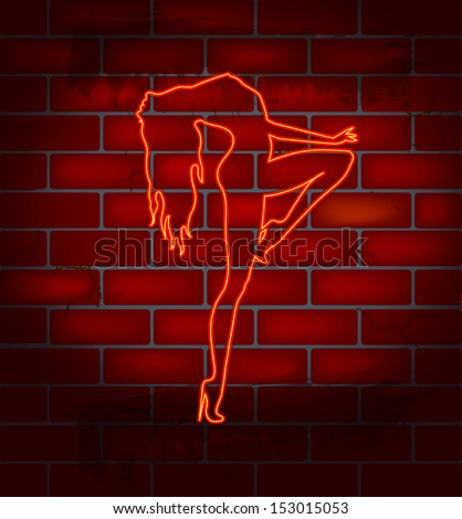 Neon image of dancing striptease on a brick wall , vector illustration - stock vector