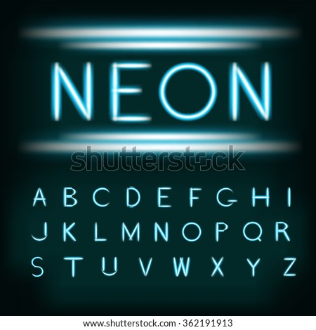 Neon light alphabet font. Neon type tube letters on dark background with glowing glittering glare. Blue white glow realistic neon alphabet font. Vector illustration for your design and business. - stock vector