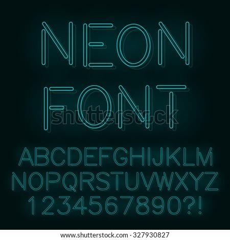 Neon lights alphabet. Vector. - stock vector