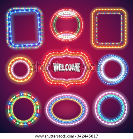 Neon Lights Banners Set for Your Holiday Project. Used pattern brushes included. There are fastening elements in a symbol palette. - stock vector