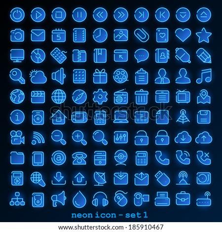 Neon line icon - set 1 - stock vector