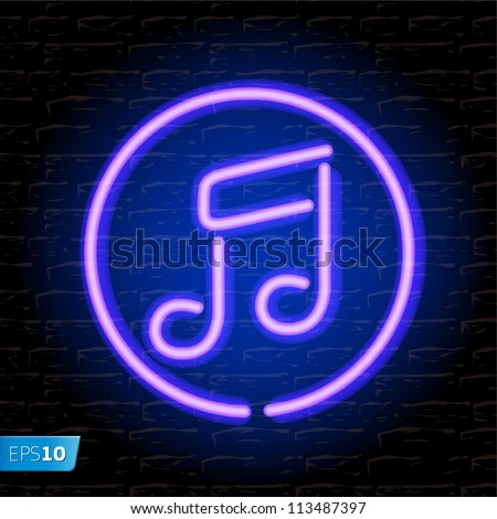 Neon music note on the brick wall, vector Eps 10 illustration. - stock vector