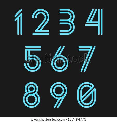 Neon Numbers - stock vector
