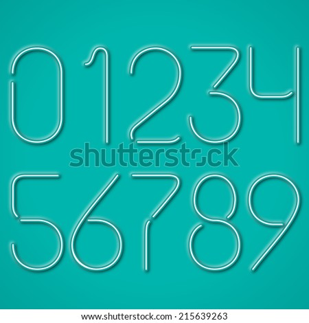 Neon Numbers On A Blue Background - stock vector