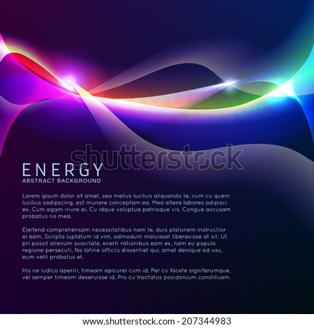 Neon rainbow waves vector background - stock vector