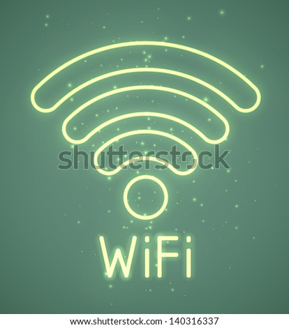 Neon retro wifi sign. EPS10 vector. - stock vector