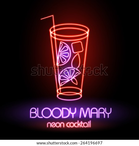 Neon sign. Cocktail - stock vector