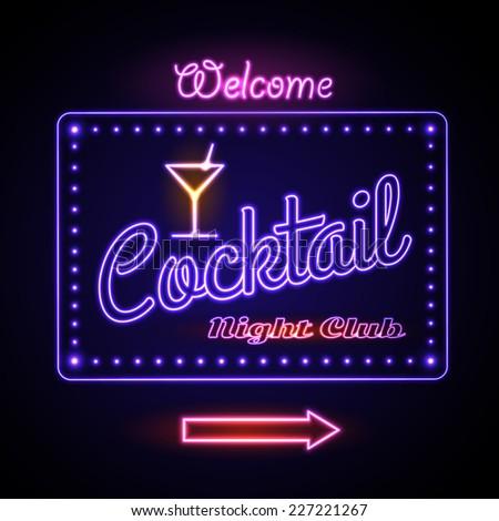 neon sign. Cocktail bar - stock vector