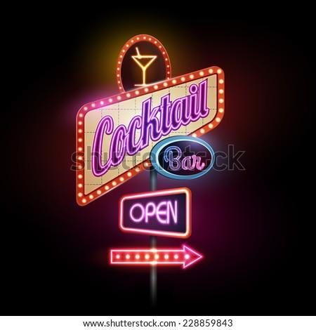 neon sign.Cocktail bar - stock vector