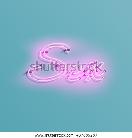 Neon sign from a typeface, vector - stock vector