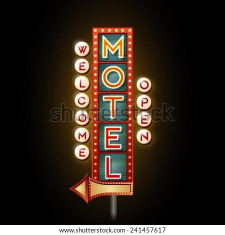 Neon sign motel - stock vector