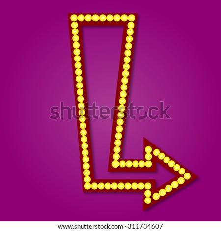 Neon sign template arrow style illustration - stock vector