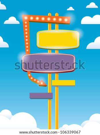 neon sign with blue sky - stock vector
