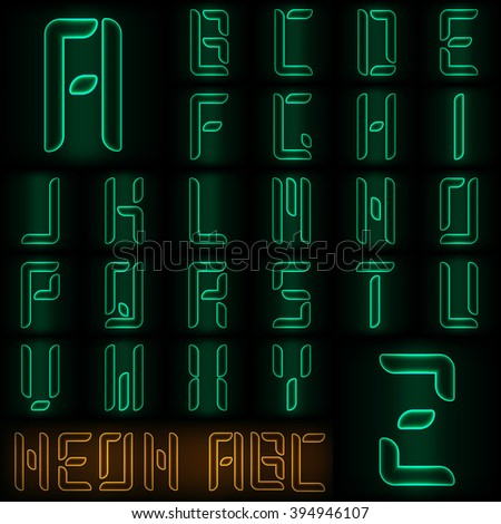 Neon style full alphabet in green color - stock vector