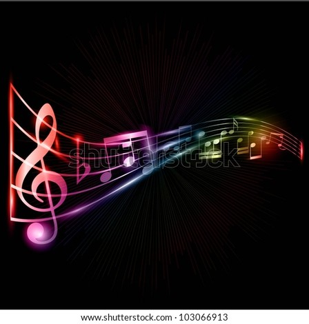 Neon style music notes - stock vector
