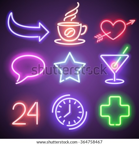 Neon symbols and elements - stock vector