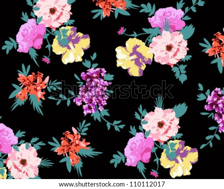 neon touch flowers with green leaves,floral pattern ,trousers ,shirt, dress - stock vector