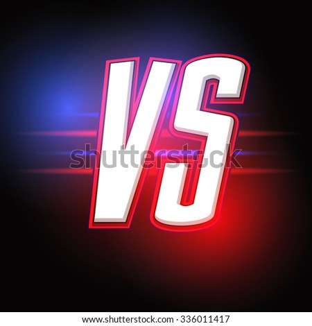 Neon Versus Logo. VS Vector Letters Illustration. Competition Icon. - stock vector