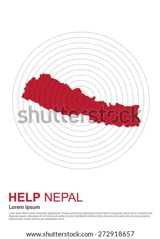 Nepal Charity advertisement. Help Nepal. earth quake location highlighted around map.  - stock vector